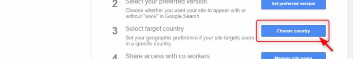 「Choose country」をクリック