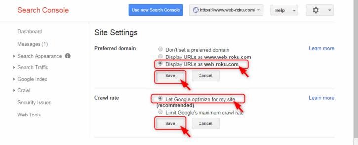 「Display URLs as web-roku.com」と「Let Google optimize for my site」を選択してそれぞれ「Save」をクリック
