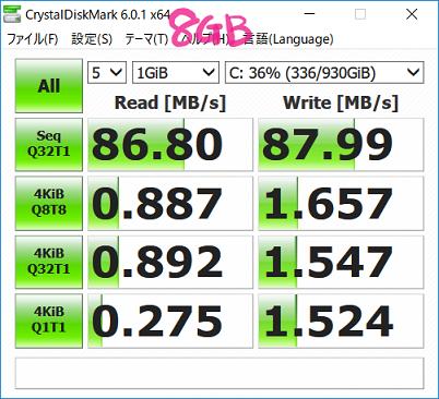 増設後のHDD読み書きスピード