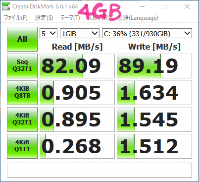 CrystalDiskMark測定結果(増設前)